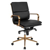 Mid-Back Leather Executive Swivel Chair with Synchro-Tilt Mechanism and Arms