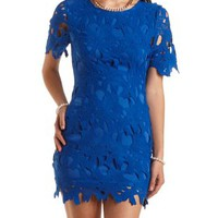 Short Sleeve Floral Lace Dress by Charlotte Russe - Bright Blue