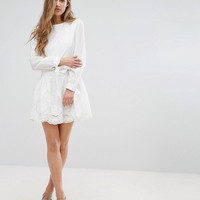 Missguided Broderie Tie Sleeve Smock Dress at asos.com