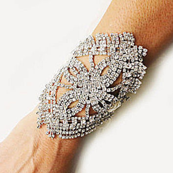 Wedding Rhinestone Cuff Bracelet, Bridal Rhinestone Jewelry Diamond Accessories