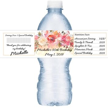 21 Peach Floral Birthday Party Water Labels