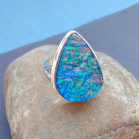 RESERVED LISTING For Evie Blue Fire Opal Ring - Size 9 Ring - 925 Sterling Silver Ring - Fire Opal Ring