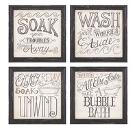 Set of 4 Bathtime Wall Decor