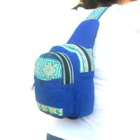 Sling Backpack crossbody bag Sling bag shoulder bag Messenger Bag Backpack Artistic bag Hippie Boho Hobo Bag Sling Blue color Gift bag