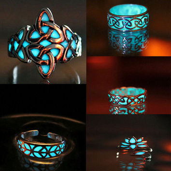 5 Styles Fashion Charms Women Lady Glow in the Dark Rings Fluorescent Glowing Stone Silver Ring Gift Jewelry