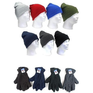 Men's Premium Knit Hats and Fleece Gloves