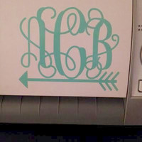 Monogram decal with arrow! Various sizes and colors! Car decal, laptop decal, wall decal