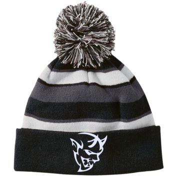 DODGE DEMON 2 223835 Holloway Striped Beanie with Pom