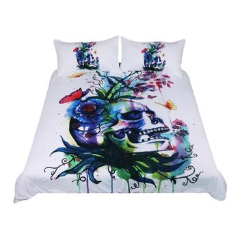Candid by Pixie Cold - Watercolor Skull Bedding Set