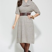 Amazon.com: Avenue Plus Size Belted Cowl Neck Sweater Dress: Clothing