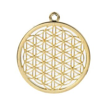 8seasons Zinc Based Alloy Flower Of Life Pendants Round Gold Plated/silver Tone Hollow Carved 44mm(1 6/8') X 40mm(1 5/8') 3 Pcs