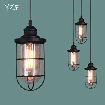 YZF New Bell Shape Glass Material Pendant Lustre lampada Lantern Pendant Lampe Vintage Retro Lamp Light Home chandelier lighting