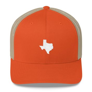 Texas Embroidered State Shape Trucker Cap