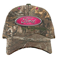 Buck Wear Chrome Pink Ford Logo Camo Womens' Baseball Hat