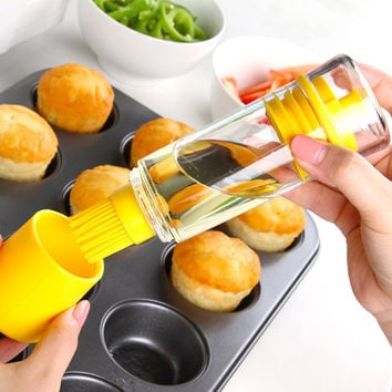 Silicone Honey Oil Bottle with Brush for Barbecue Cooking Baking Pancake BBQ Tools Kitchen Accessories Barbacoa Storage Bottles