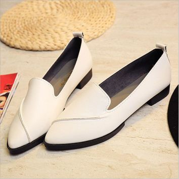 New Autumn Women Flats Leather Pointed Toe Shoes size 567