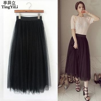 TingYiLi Long Tulle Skirt Korean Style Princess Long Skirt Autumn Winter Black White Tulle Skirts Women Fashion Faldas