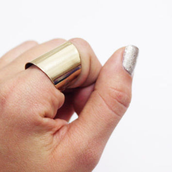 Gold Tube Ring  wide band ring adjustable tube finger by galisfly