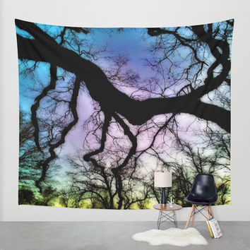 Twisted Tree Sunset Wall Tapestry by DuckyB (Brandi)