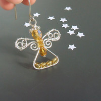 Honey gold Christmas angel ornament, handmade pendant, silver plated wire wrapped jewelry