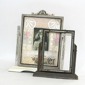 "Pair of Vintage Swing Frames White and Gray | Frame with Mixed Media Collage - Easy to Remove | Shabby Chic Wood Frames 5"" x 7"" & 7"" x 9"""