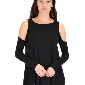 Top : Long Sleeve Cold Shoulder Top