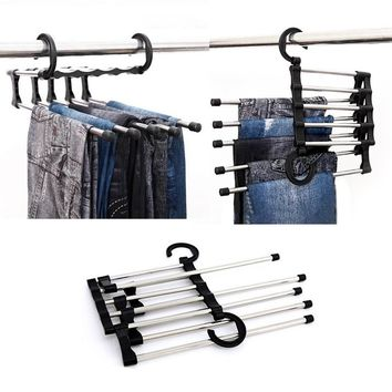 Multi functional Pants Hangers Stainless Steel Clothes Hangers Closet Organizer