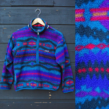 Vtg Patagonia Fleece Jacket Kids 12 Womens Petite XS Native Southwestern Pullover Fleece Patagonia Jacket USA Hiking Camping Outdoors Jacket