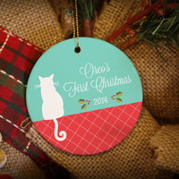 Cute Christmas Kitty Personalized Christmas Ornament!