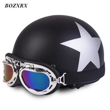 BOZXRX Matte Motorcycle Helmets Open Face Half Motorbike with Goggles and Removable Collar Retro Style Helmet Capacete