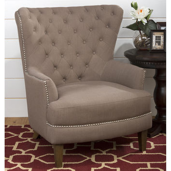 Conner Tufted Wing Back Chair Earth Tone Fabric
