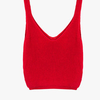 Red Sleeveless Crop Knit Top