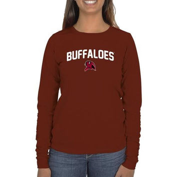 West Texas A&M Buffaloes Ladies Mascot Logo Long Sleeve Classic Fit T-Shirt - Cardinal