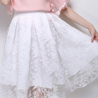 White Sheer Lace High Waist Skirt