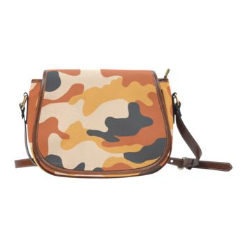 Women Shoulder Bag Brown And Orange Camouflage Saddle Bag Large