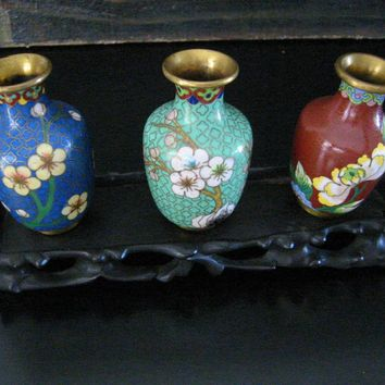 Chinese Cloisonne Vases Suit Floral Enameling Over Brass Stamped