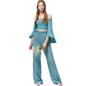 Loose High Waist Wide Leg Palazzo Pants with Elastic Waistband