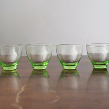 4 Retro Vintage Soviet USSR Green Emerald Carafe Glass Set Shot Glass Jar Jug Vial Canteen Cruet Decanter Set Flask Bottle NEW