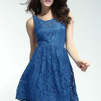 Blue Sleeveless Floral Mesh Lace Strappy Back Mini Skater Dress