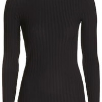 Round Neck Ribbed Top - Black