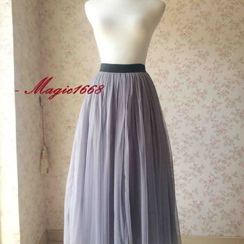 Gray Tulle skirt. long Tulle Skirt. Maxi Tulle skirt. Gray Skirt. Gray Bridesmaid Skirt - Wedding Party - Plus size Tulle Skirt xxs-xxxl