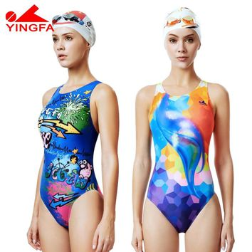 Yingfa 2019 NEW Professional competition one piece triangle training swimsuit chlorine resistant women's swimwear bathing suit