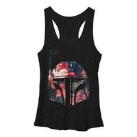 Juniors Star Wars Boba Floral Helm Tank Top