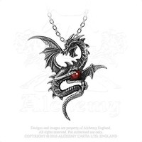 Aethera Draconem Ether Dragon Guarding 3d Red Swarovski Pearl Necklace By Alchemy Gothic