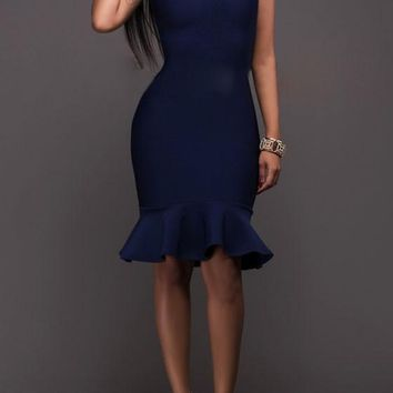 Dark Blue Plain Peplum Zipper Backless Bodycon Homecoming Midi Dress