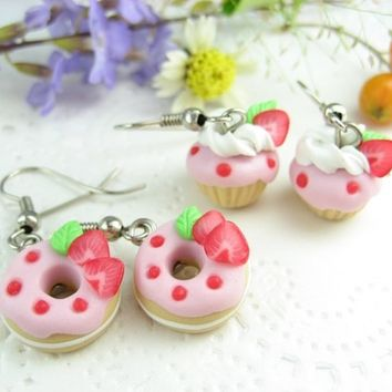 Mini Pink Strawberry Donut and Cupcake Earrings (2pairs) Food jewelry