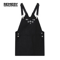 japanese Women summer dress 2017 New Fashion Cute Cat Black suspenders Dress plus size women clothing overalls Dress for women