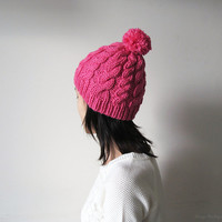 Hand Knitted Cable Chunky Beanie in Fuchsia - Beanie with Pom Pom - Seamless - Wool Blend - Winter Fall - Made to Order