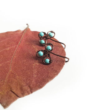 Filigree ear cuff - Turquoise ear pin Ear climber Ear climber earring Pierced ear cuff Turquoise jewelry Climber earrings Seed bead jewelry