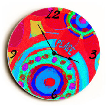 Hippy Peace Unique Wall Clock by Artist Lisa Weedn